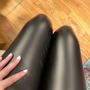Black High Waisted Vegan Leather Leggings